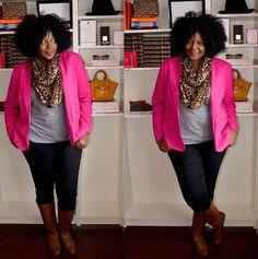 Plus size fashion for women : pink Blazer