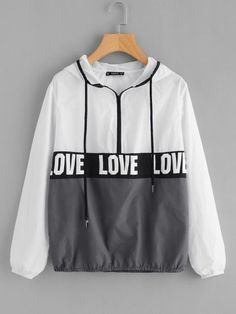 To find out about the Zip Front LOVE Print Windbreaker Hoodie Jacket at SHEIN, part of our latest Jackets ready to shop online today! Romwe, Hoodie Jacket, Rain Jacket, Look Cool, Cool Style, Mode Grunge, Jackets Online, Women's Jackets, Hoodies