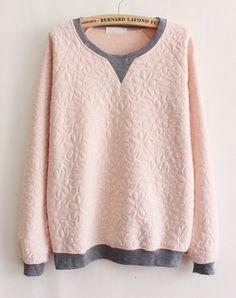 Pink Contrast Grey Long Sleeve Floral Sweatshirt US$26.21