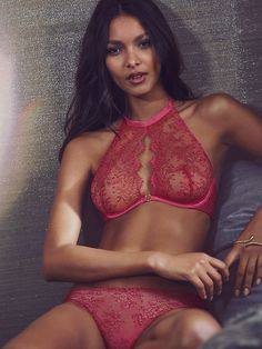 "modelmylove: ""Lais, red,lace, and choker bralette love. """