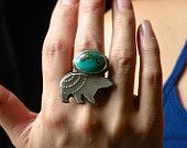 Silver sterling TURQUOISE ring. Bear totem.