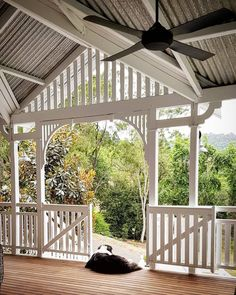 The Woca Oil decking oil on spotted gum on an old queenslander home verandah on acreage outlook. Back Deck Designs, Queenslander House, Tin House, Bright Homes, Australian Homes, Cottage Design, Custom Home Builders, House Goals, Aussies