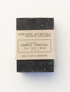 Herbivore Botanicals - Activated Bamboo Charcoal Soap, Tea Tree + Mint