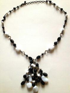 Black White Glass Bead Tassel Long Necklace 32 inches Long | eBay