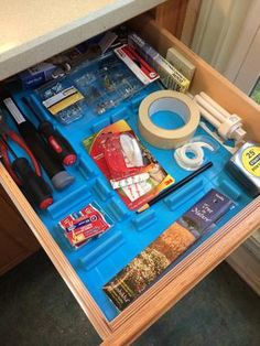 Organize your junk drawer using DrawerDecor, which allows you to customize the size and space of where you'll put things unlike more traditional drawer dividers {featured on Home Storage Solutions 101}