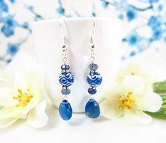 Blue Quartz Chinese Ceramic Dangle Earrings - Blue Chinese Ceramic Dangle Earrings - Chinese New Year porcelain earrings