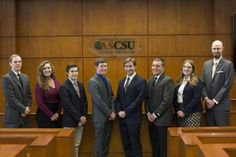 Associated Students of Colorado State University Supreme Court members, (left to right) court liaison Connor Ferguson, associate justice Allie Salz, associate justice Jake Moore, deputy chief justice Nick Dannemiller, chief justice Rioux Jordan, associate justice Jacob Stein, associate justice Celine Wolff, and sergeant at arms Duane Hansen. (Photo credit: Topher Brancaccio)