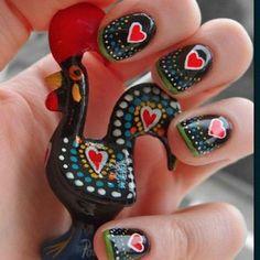 Portuguese galo de barcelos nails - cute!