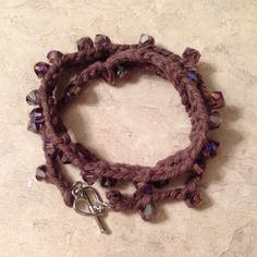 Crochet Wrap Bracelet With Purple Glass Beads and by LaceryModerne