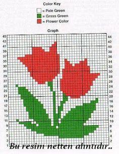 Lale Desenli Şemalı Motif veya Tutacak Modeli (crochet Flower Pot Holder Pattern) | Marifetane- İğne Oyası ve Açıklamalı modeller