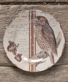 Another great find on #zulily! Beige & Brown Woodsy Owl Plate - Set of Four by Ragon House #zulilyfinds