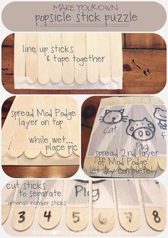 Popsicle Stick Puzzle tutorial + Free Printable {mama♥miss}