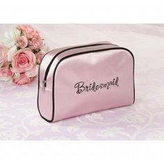 Bridesmaid Pink Travel Cosmetic Bag #wedding #gifts #daisydays