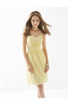 Sheath/Column Sweetheart Chiffon Bridesmaid Dress with Ruffles