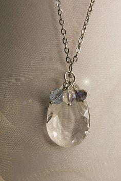 Vintage Teardrop CHANDELIER CRYSTAL Necklace by VintageSupplyCo