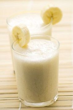 Smoothie Diet | Banana Smoothie | Two servings: 2 Bananas chopped up into big chunks and frozen (210 Calories) 1/2 cup of vanilla yogurt or whatever flavor you choose. (75 Calories) 1/2 cup of low-fat milk, soy milk, or almond milk (50 Calories) 1/2 cup of ice 1 tbsp. of bee honey, Optional (65 Calories)