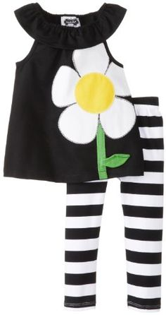 Mud Pie Baby Girls Flower Tunic and Striped Legging Set BlackWhiteYellow 12 18 Months >>> Click image to review more details.