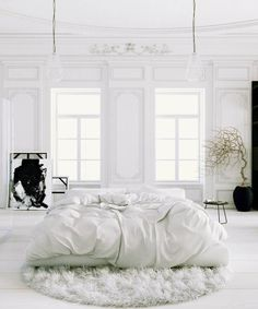 Beautiful, Simple White on White Bedroom.