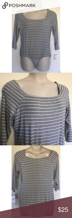 {NY Collection} Striped Ribbed 3/4 Sleeve Bodysuit Measurements coming soon. Manufacturer Color is Grey/Ivory. New with tags. 3/4 sleeves. Can be worn off the shoulder or on the shoulder. Ribbed knit. 80% Polyester/16% Rayon/4% Spandex. Fabric provides stretch. Striped. Snap bottom closure. Bundle for discounts! 5lb bundle weight limit. Thank you for shopping my closet!  Bin 84 NY Collection Tops