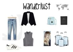 """""""Wanderlust ✈️"""" by xfffashionlover ❤ liked on Polyvore featuring Gap, H&M, adidas Originals, Alice + Olivia, FOSSIL and Primp"""