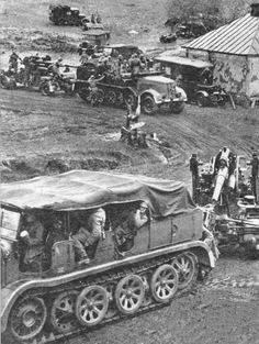 German Flak 88 guns, in their field artillery role, are on the move in the Kharkov sector, 1942.
