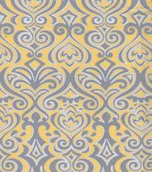 Quilter's Showcase Fabric- Damask Yellow & Gray