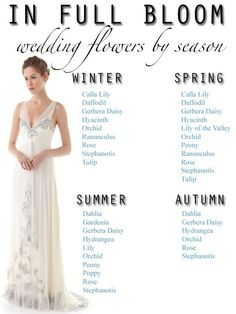Seasonal Guide to Wedding Flowers - good to know!