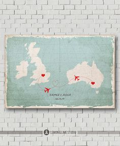 Destination Wedding Map Guest Book Map Print, Wedding Gift Wedding Sign, Wedding Guest Book Poster, Travel Wedding Map Love Map Art Print  This is a Wedding Guest Book Alternative you can choose print material (poster or wood or canvas) on a drop down menu on the right. For wood option the design will be printed on a single wood cut to size selected by buyer. The wood print does not print on multiple wood planks. For a natural wood there are 2 pieces alike wood grains are not exactly match…