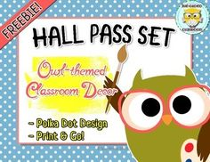 I'm so in love with this owl-themed hall pass set. I know, I made them, but they came out so awesome that I had to share them with you, for FREE!