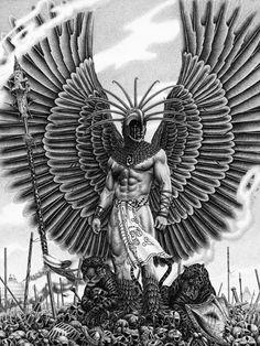 En la religión azteca numerosos dioses regían la vida diaria. Los sacrificios, humanos y de animales, eran parte integrante de la religión azteca. Este es uno de los dioses que la gente respetaba.