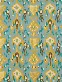 Ikat Fabric Upholstery Fabric Teal Designer by greenapplefabrics