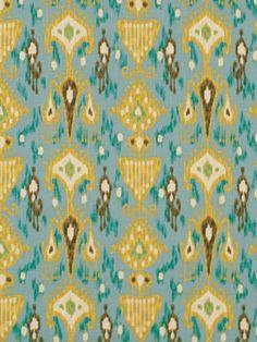 Ikat Fabric Upholstery Fabric Teal Designer by greenapplefabrics