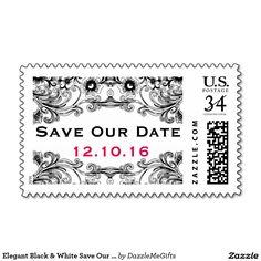 Elegant Black & White Save Our Date Postage Stamp #saveourdate #wedding #weddingplanning