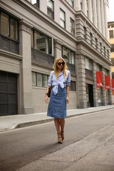 Atlantic-Pacific blue top shirts denim skirt. Street casual summer women fashion outfit clothing style apparel @roressclothes closet ideas