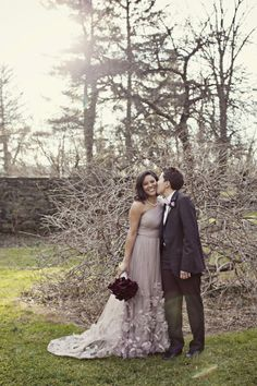 Lesbian Lavender Wedding! Sooo chic!! Love the dress
