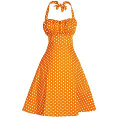 V Fashion Women's Rockabilly 50s Vintage Polka Dots Halter Cocktail... (£11) ❤ liked on Polyvore featuring dresses, vintage polka dot dress, orange cocktail dress, halter cocktail dress, rockabilly dresses and holiday dresses