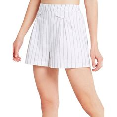 Bcbgeneration Striped Utility Shorts ($35) ❤ liked on Polyvore featuring shorts, stripe shorts, elastic waistband shorts, utility shorts, bcbgeneration and pleated shorts