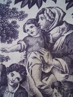 ANTIQUE FRENCH FRAGMENT PURPLE FABRIC TOILE DE JOUY 18TH-CENTURY