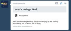 College in a nut shell.