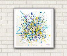 Piccolo quadro astratto dipinto a mano su tela. Colori acrilici metallizzati. Per salotto. Giallo, azzurro, lilla. By DreamingMandalas #italiasmartteam #etsy