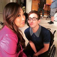 Jenna Ushkowitz and Kevin McHale on the last day of Glee
