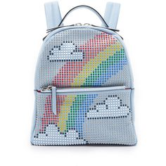 les petits joueurs Mini Mick Rainbow Backpack (166.160 HUF) ❤ liked on Polyvore featuring bags, backpacks, backpack, light blue, miniature backpack, leather bags, leather backpacks, leather knapsack and studded backpack