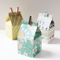 sew much to do / sew little time — DIY Mini Milk Carton Gift Box ✖✖✖✖✖✖✖✖ . Homemade Gift Boxes, Diy Gift Box, Creative Gift Wrapping, Creative Gifts, Wrapping Ideas, Creative Ideas, Pretty Packaging, Gift Packaging, Diy Paper