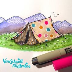 Das 51 and 52 of #365doodleswithjohannafritz combined: Polka dots and tent.  camping in the mountains is just beautiful. And imagine the tent has polka dots?? Just perfect!  by veraschmidtillustration