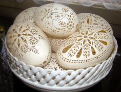 Delicate egg carvings create beautiful designs. Find Easter recipes, tricks, tips, crafts and more at http://www.paaseastereggs.com/.