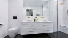 The Block 2016 - Week 3 Main Bathroom Reveals - Katrina Chambers Bathroom Toilets, Bathroom Renos, Bathroom Renovations, Bathroom Photos, Modern Bathroom, Small Bathroom, The Block Bathroom, Family Bathroom, Laundry In Bathroom