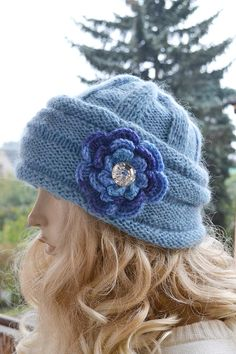 Knitted blue cap with flower  / hat lovely spring hat  women clothing  Knit Hat Womens autumn accessories