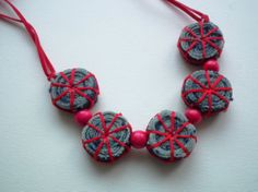 Necklace from denim  Summer necklace Jewellery from ♥ by EandZ, $22.00