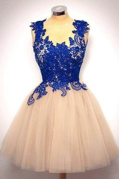 Navy blue lace tulle round neck A-line short party dress