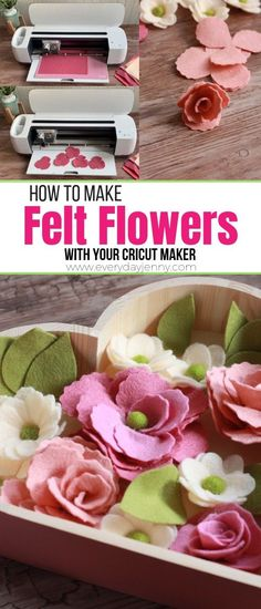 How to make felt flowers with your Cricut Maker. Tips and tricks for felt flowers, plus a picture tutorial. How to make felt flowers with your Cricut Maker. Tips and tricks for felt flowers, plus a picture tutorial. Paper Flowers Diy, Felt Flowers, Fabric Flowers, Flower Crafts, Felt Flower Diy, Paper Flowers How To Make, Felt Flower Wreaths, Felt Roses, Tips And Tricks